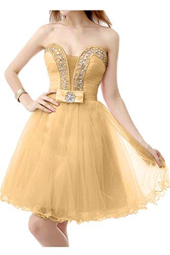 Gorgeous Bride Schoen Mini Satin Tuell Herz-Ausschnitt A-Linie Abendkleider Cocktailkleid Ballkleider Golden
