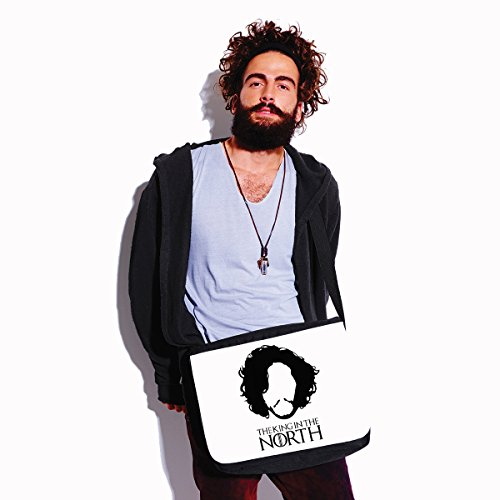 Borsa a tracolla Game of Thrones - The King in the North - Jon Snow - il trono di spade- serie tv - dimensioni 35x30x11,5 cm Bianco