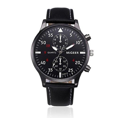 Coolster Herren Business Retro Design Lederband Armbanduhr (Schwarz)