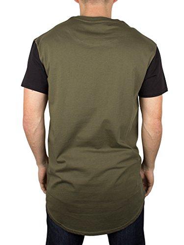 Sik Silk Uomo Hem curvo T-shirt, Verde Verde