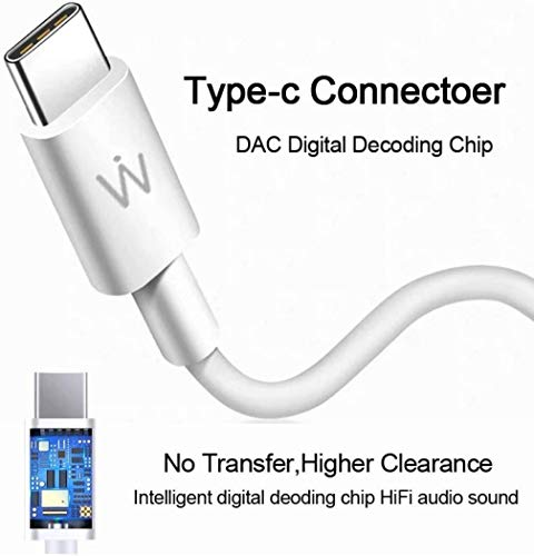 Wissenschaft JP52 in-Ear USB C-Type Plug Headphones HD Stereo. Works with Phones which Do not Have 3.5mm Jack. (Kind-C Plug, White) Image 4