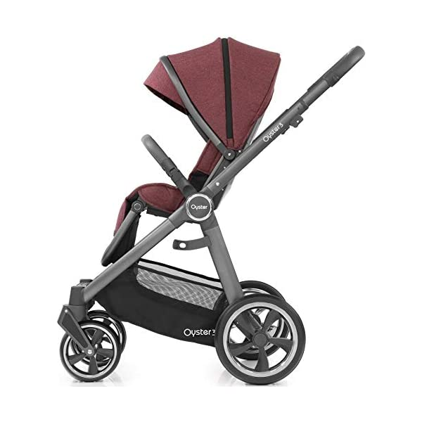 Babystyle Oyster 3 Pushchair in Berry with City Grey Chassis & Raincover Babystyle Multi position, lie-flat seat unit (rear or forward facing) from birth. Lightweight chassis and telescopic handle design with 4 adjustable positions. Swivel front wheels with one click locking mechanism. 2