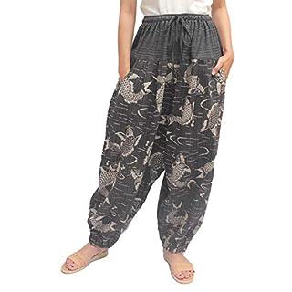 ChiangmaiThaiShop Cotton Baggy Boho Aladin Yoga Harem Pants … (Medium, Black-f)
