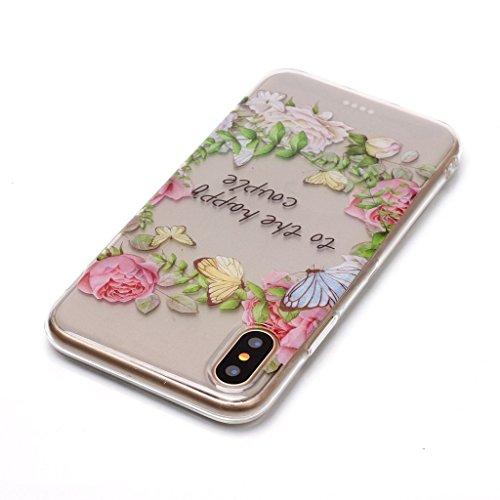 """Hülle für Apple iPhone X , IJIA Transparent Schmetterling Blumen TPU Weich Silikon Stoßkasten Cover Handyhülle Schutzhülle Handytasche Schale Case Tasche für Apple iPhone X (5.8"""") XS78"""
