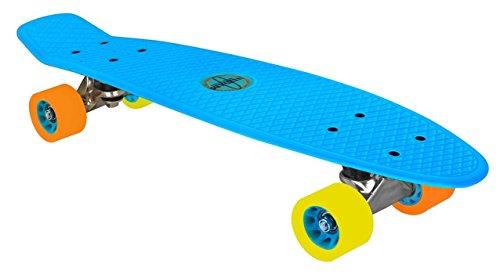 Nijdam Kinder Skateboard Kunststoff, Blau/Orange/Gelb, 52NF
