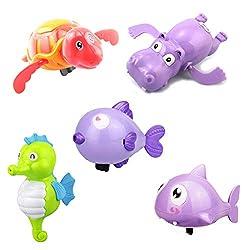 YeahiBaby 5 x Badetiere Baby Wasserspielzeug Wind Up Bad Spielzeug (Schildkröte / Nilpferd / Shark / Küssen Fisch / Seepferdchen)