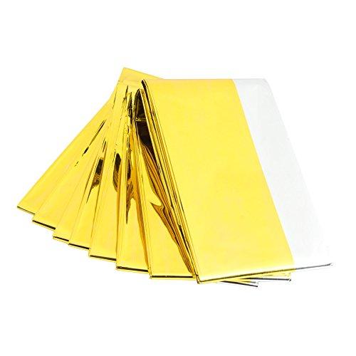 Pinty 10 Stück Notfall Rettungsdecke Rettungsfolie Notfalldecke Emergency Survival Thermal Blankets Wärmedecke Gold Silber 160 x 210 cm