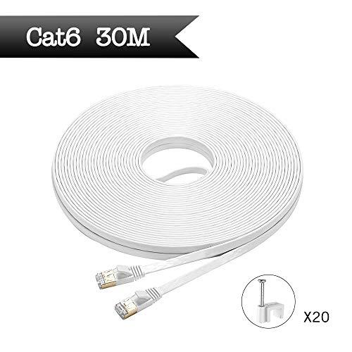 HopeU5 30m flache Cat6-Ethernet-Kabel Hochgeschwindigkeits-RJ45 mit STP-Kupferdrähten, geschirmt und vergoldet für Router-Modem-Switch (30m, Weiß)