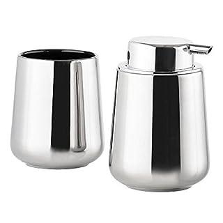 ZONE DENMARK Nova One Soap Dispenser & Toothbrush Mug Set, Silver