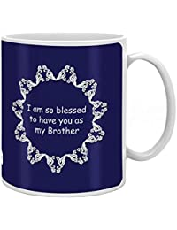 Indigifts Rakhi Gifts Bhaiya Is A Blessing Quote Printed Dark Blue Coffee Mug 325ml (Multicolour)