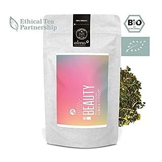 alveus® Beauty Greentox® ORGANIC: Lose Teemischung mit Grünem Tee, grüner Minze, Ingwer, Gojbeere, Kurkuma, Granatapfel, Rosenblüten. Erholsamer Tee, 100g Tüte