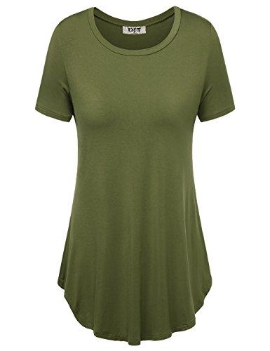DJT Damen Einfarbig Kurzarm T-Shirt Plissee Front Swing Tunika Sommer Tops Grün M