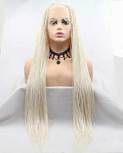 Drag Queen Afro Amerika Box Geflochtene Perücke, handgefertigt, lange Zöpfe, haarfreundlich, synthetische Lace-Front-Perücke, für Damen, Urlaub, Party, Cosplay, Weißblond
