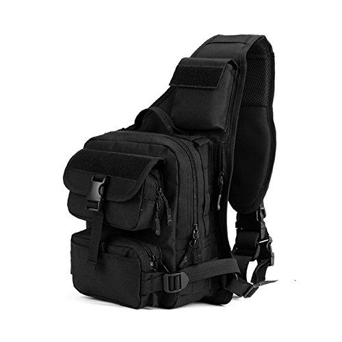 Freedom-vp Damen Herren Military Tactical Umhängetasche Brusttasche Rucksack mit einem Gurt Daypack Sports Crossbag outdoor KampfrucksackRucksack für Radfahren Wandern Camping Schwarz