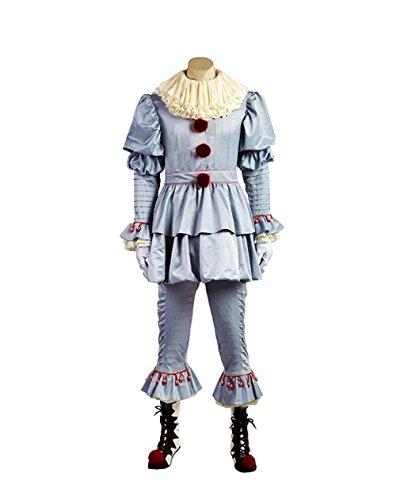 (XL Größe) Pennywise Clown Kostüm für Erwachsene Deluxe Karneval Halloween Film IT Cosplay Joker - Für Clown-witze Halloween