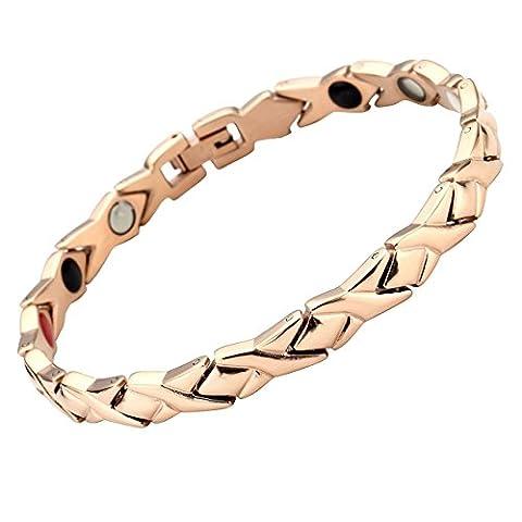 JOVIVI Damen Magnetarmband Edelstahl Magnetische Armband Armreif 4-in-1 Magnete Armband