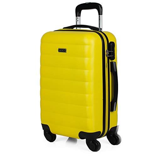 ITACA - Maleta Cabina de Viaje Rígida 4 Ruedas Trolley 55 cm ABS. Equipaje de Mano. Pequeña Cómoda Resistente Ligera y Bonita. Low Cost Ryanair Precio. 71250, Color Amarillo