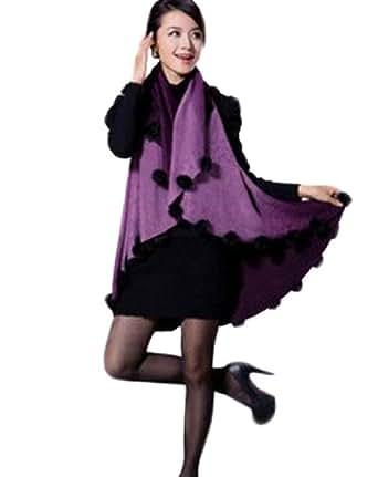 Farleen –Châle Gilet Gothique Echarpe Pashmina Chauve-souris Cardigan Sans Manche – Femme -Violet#2