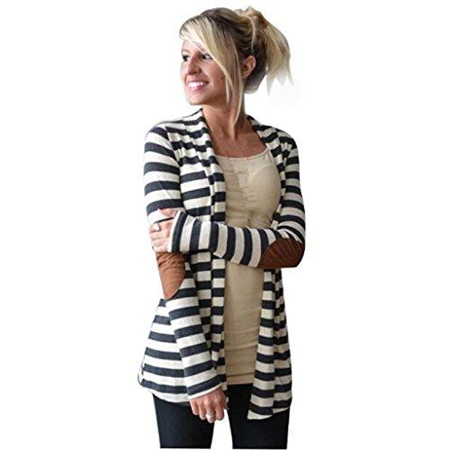 Loveso-Outwear Mäntel Frauen Frauen-beiläufige lange Hülse Striped Cardigans Patchwork Outwear (XL, (Flagge Kleid Us)