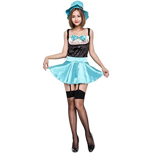 Teenager Kostüm Top - FHSIANN Frauen Teenager Magie Tea Party Kostüm Top Rock Set Anime Film Lustige Spiele Halloween Magier Outfit Mit Hut Für Damen