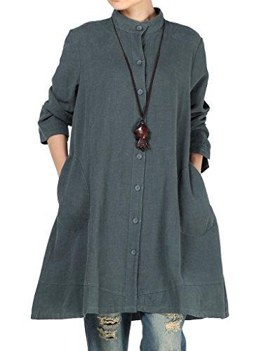 Vogstyle Damen Herbst Baumwolle Leinen Voller vorderer Knopf Blouse Kleid mit Taschen Style 1 Large Dark Green