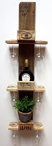 Palettenmöbel Weinregal vertikal mit Glashalter aus recycelten Palettenholz - Jedes Stück ein Unikat aus echter Handarbeit Made in Germany - perfekt als Hängeregal und...