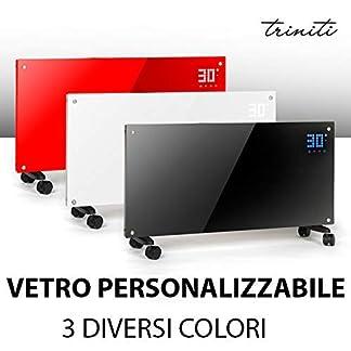 Triniti – Panel termoconvector, calefacción eléctrica, radiador de cristal de convección 1000-2000 W, pantalla táctil, mando a distancia 2 ajustes, montaje en pared cristal negro