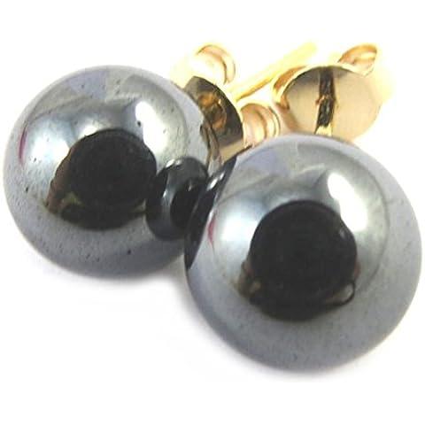 Pendientes oro chapado 'Mineralia'hematite - 10 mm.