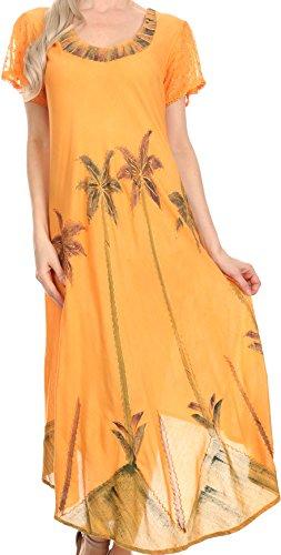 Sakkas 116 Aquarell-Palme-Behälter Kaftan Kleid - Orange/One Size - Orange Aquarell