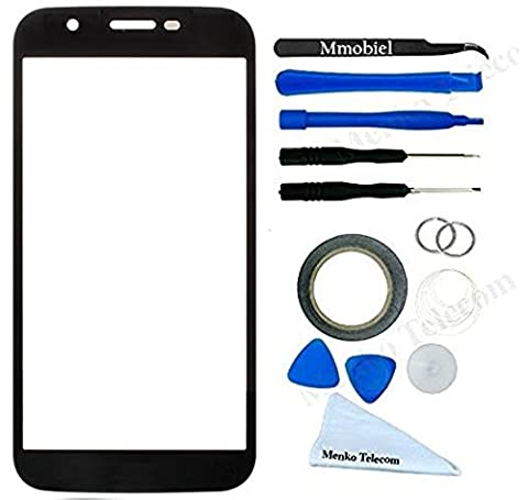 Front Glass for Motorola Moto G 3rd Gen XT 1550 Black Display Touchscreen incl 12 pcs Tool Kit / Pre-cut Sticker / Tweezers/ Roll of 2mm Adhesive Tape / Suction Cup / Metal Wire / Microfiber cleaning cloth MMOBIEL