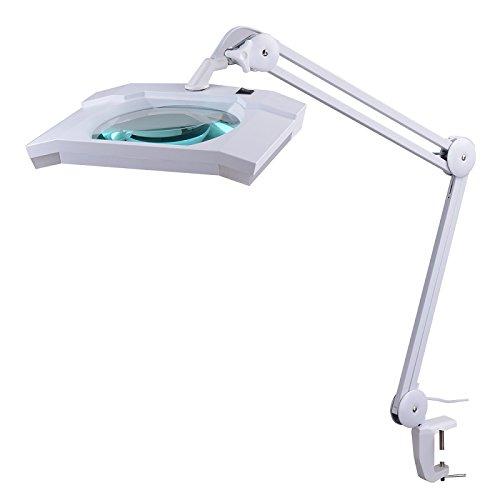SEMPLIX LED Lupen-Tischleuchte 3D weiß (Linse 189 x 157 mm/Tischklemme) -
