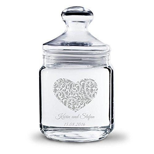Personello Keksglas Vorratsglas mit Gravur (mit Namen und Datum graviert), Herz Motiv, Geschenk für...