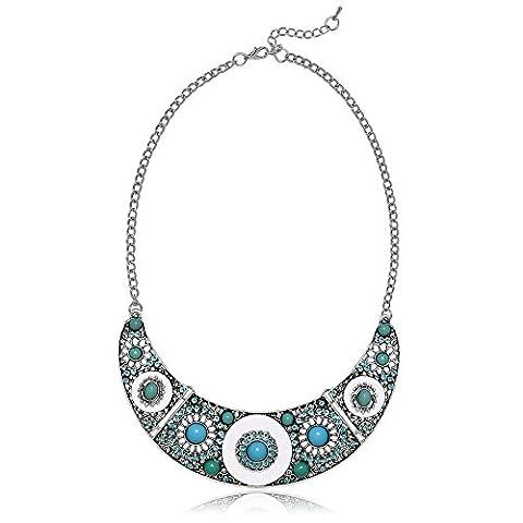 AMDXD Bohémiens Bijoux Plaqué Argent Colliers Pendentifs pour Femme Perle Ronde De Fleur Bleu Vert