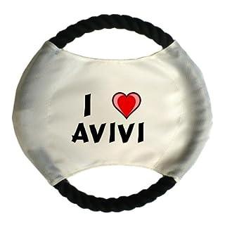 Personalisierter Hundefrisbee mit Aufschrift Ich liebe Avivi (Vorname/Zuname/Spitzname)