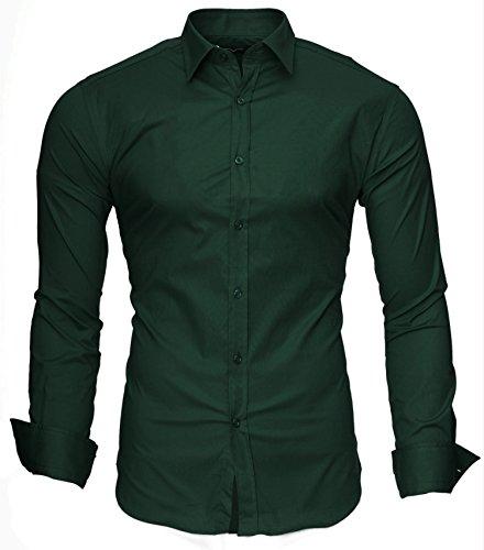 Kayhan Uni Langarmhemd Slim Fit 20 Farben zur Auswahl S-3XL Dunkelgrün