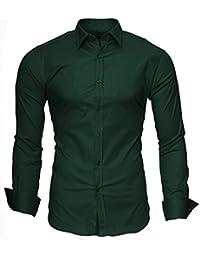 KAYHAN Langarmhemd Slim Fit 20 Farben zur Auswahl S-XXL Dunkelgrün (M)