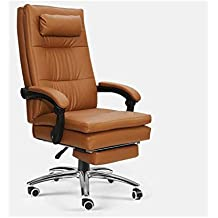 LEOO Silla clásica de Oficina con Respaldo Acolchado de Cuero con reposabrazos (Color : Brown