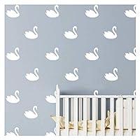 JURUOXIN 48 Pcs/Set Swan Wall Decal Vinyl Nursert Duck Stickers for Kids Baby Gilrs Bedroom Decoration Art Home Room Decor YMX31 (White)