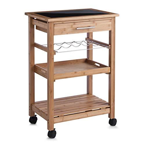Zeller 13778 Küchenrollwagen, Bamboo/Glas-Top / 58 x 40 x 85