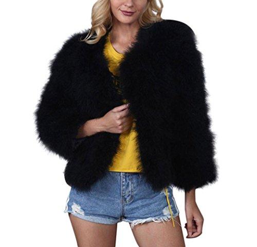 Damen Damen Mantel Winter Elegant Warm Faux Fur Kunstfell Jacke Kurz Mantel Coat (Schwarz, L)