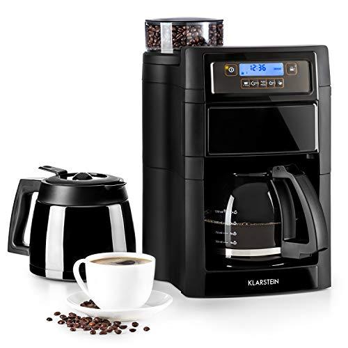 Klarstein Aromatica II Set Kaffeemaschine mit Mahlwerk • Filter-Kaffeemaschine • 1.25 L Glaskanne • 1.25 L Thermoskanne • Timer • Warmhalteplatte • inkl. Permanent- und Aktivkohle Filter • schwarz