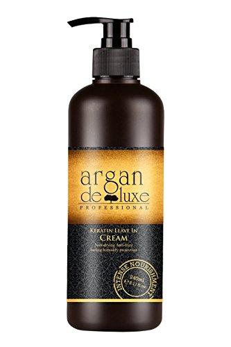 Arganöl Keratin Leave-In-Pflege ✔ Anti-Frizz, tiefenwirksame Feuchtigkeit, UV-Schutz, toller Duft ✔ Argan DeLuxe, 240ml (Pflege Duft-freie Haar)