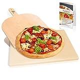 Amazy Pietra Refrattaria per Pizza da Forno, incl. PALA pizza e RICETTARIO-Pietra per Cottura Pizza dal sapore italiano (38x30x1,5cm)
