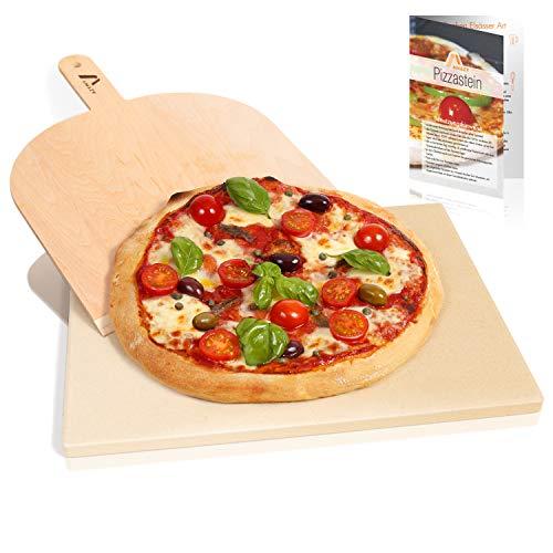 Amazy Pierre à pizza avec pelle à pizza - Plaque de cuisson de pâtes à pain et à pizza au goût authentique - Cordiérite pour four et grill avec raclette à pizza (38 x 30 x 1,5 cm)