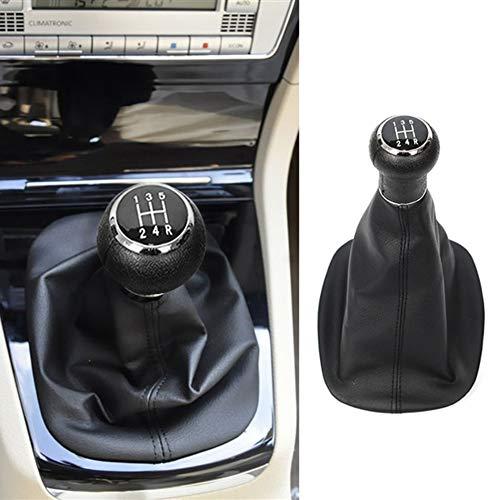 YSHtanj Schaltknauf für den Innenraum, 5 Gänge, Schaltknauf, Schaltsack für VW Passat B5, Schwarz -