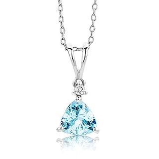 Miore Damen-Halskette mit Anhänger – Filigrane Kette aus 9 kt. Weißgold mit Geburtsstein Aquamarin in Blau & 0,02 ct. Diamant – Halsschmuck 45 cm lang, Silber