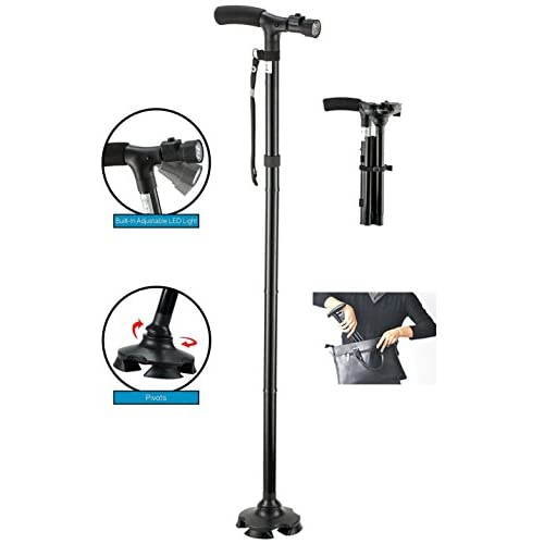41x7j40WqML. SS500  - BeGrit Folding Cane Dependable Ajustable Height Lightweight Folding Walking Stick Cane with Built-in LED Lights Non Slip…