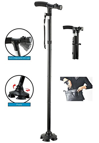 41x7j40WqML - BeGrit Folding Cane Dependable Ajustable Height Lightweight Folding Walking Stick Portable Cane Balancing Walking Aid…