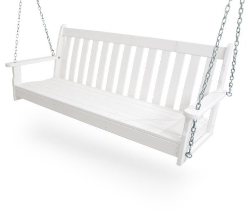 CASA BRUNO Original Porch Swing Hängeschaukel / Gartenschaukel aus recyceltem Polywood® HDPE Kunststoff, weiss – kompromisslos wetterfest