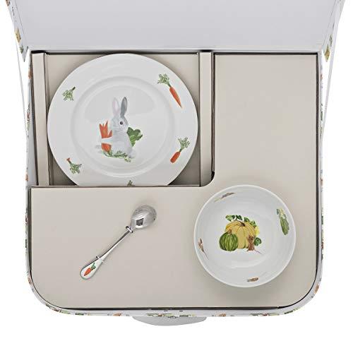 DEGRENNE 231760 Les Amis du Potager Valisette avec coupelle + Assiette à Dessert + cuillère à café, Multicolor